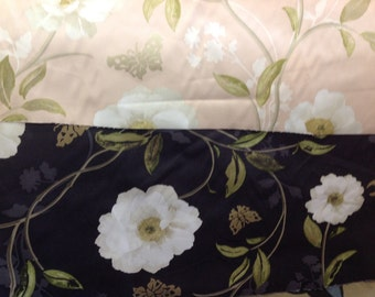 Nina campbell designer curtain fabric peony place by the metre in pink and black