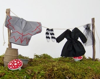 Fairy Garden Halloween Accessory Miniature Clothes on Clothesline, Witch and Flying Monkey, Wizard of Oz Miniatures