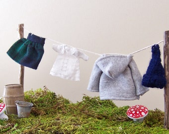 Fairy Garden Accessory, Miniature Garden Decor, Back to School Miniature Clothes, Gnome Garden Decoration, 1:12 Scale Dollhouse Decor
