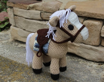Toy Pony, Crochet Toy Horse, Crochet Toy Pony, Plush Animal, Stuffed Animal, Tan Horse, Amigurumi Horse, Amigurumi Pony, Horse w. Saddle