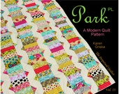 "Quiltsy Destash Party, Modern Quilt Pattern, Park Place Quilt Pattern, XL Twin Size Quilt Pattern, 61"" x 82"" Dorm Size Quilt"