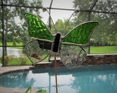 Fern Green Hammered Glass and Coordinating Fracture Streamer Glass - Large Butterfly Plant/Garden/Memorial Stake -