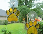 """Paw Print """"Paws To Remember"""" - Amber Stained Glass Suncatcher or Memorial Marker - Unique Smaller size"""