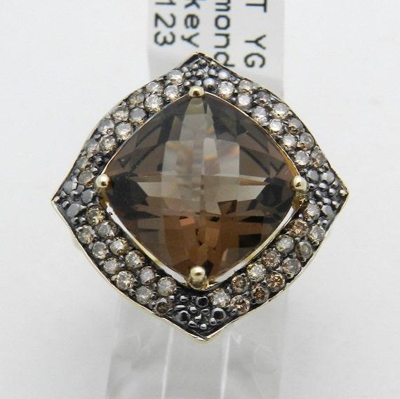 Diamond and Cushion-Cut Smokey Topaz Halo Engagement Statement Ring 14K Yellow Gold Size 8.5