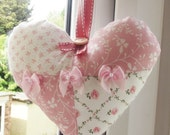 Pink and White Heart Hanging,  Keepsake, Bridal Decoration, Bridemaid Gift, Wedding Decoration, Laura Ashley Fabric, Home Decoration