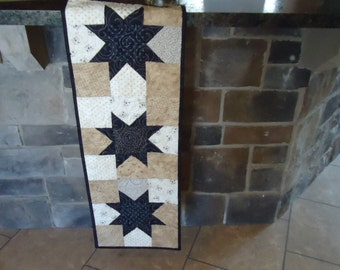 Sawtooth Star Table Runner,NavyStar Runner, Country Quilt Runner 0802-02
