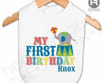 Circus 1st Birthday Bib - personalized Carnival first birthday bib