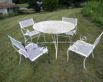 5 piece good shape clean vintage heavy duty iron and mesh mid century SALTERINI russel WOODARD PATIO set pick up only