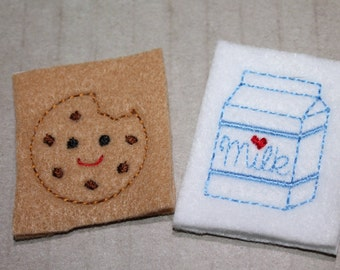 Milk and cookie feltie set, choice of set of milk and bitten cookie felties for hair accessories, scrap booking or crafts