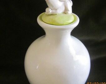 Vintage Handmade Ceramic  BunnyPerfume Bottle
