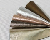 5pcs  Scrap Genuine Leather , Metallic Leather Offcuts