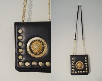 Vintage Leather COOPER J. Brass SUN Coins Chain Greek Purse Cross Body Handbag