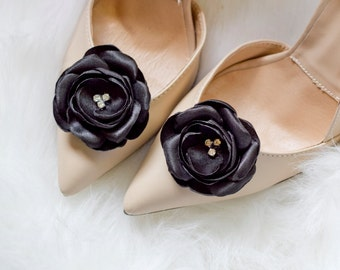 Black Satin Rose Shoe Clips