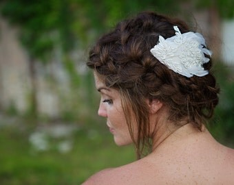 Bridal Hair Comb, Wedding Feather Headpiece Accessory - Glimpse - FA191