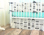 Black, White, and Aqua Crib Bedding with a Mustache Theme