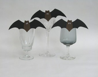 Halloween bat decoration clip - party favor place card table setting - set of 6