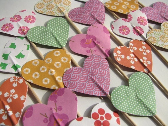 CLEARANCE 50% off - Cupcake topper - food pick - tooth pick heart shaped mixed colors . 20 pcs