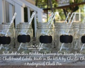 Wedding Favors Rustic Wedding Decor, Mason Jar Labels, Wedding Package, 100 NON TOXIC Chalkboard Labels Made in the USA
