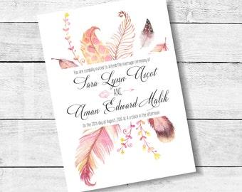 Feather Wedding Invitation Watercolor Invitation Suite