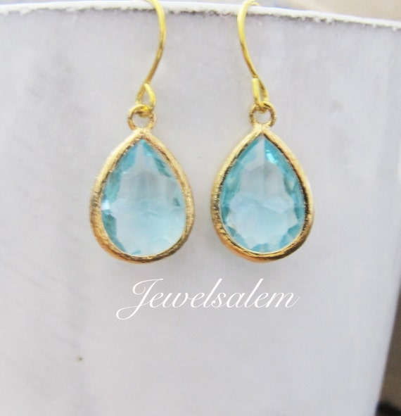 Aquamarine Earrings Gold Aqua Dangle Earrings Blue Mint Teal Teardrop Bridesmaid Earrings Gift Bridal Jewelry Light Turquoise Wedding C1
