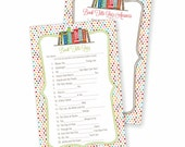 Baby Shower Game / Quiz for a Book Theme Baby Shower Invitation, Instant Download, Bring A Book Invite, Build a Library Printable, You Print
