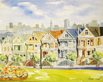 GICLEE PRINT of Painted Ladies Victorian Houses in San Fransisco Watercolor