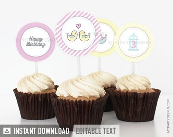 Birds Birthday Party - Cupcake Toppers - Party Circles - Pastel Pink and Yellow - INSTANT DOWNLOAD - Printable PDF with Editable Text