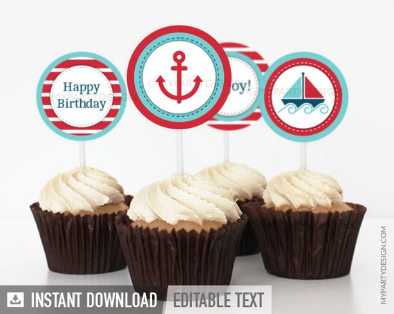 Nautical Party - Cupcake Toppers - Party Circles - Red Blue Stripes - INSTANT DOWNLOAD - Printable PDF with Editable Text