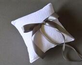 White lace wedding ring pillow with dark grey dark gray satin ribbon bow