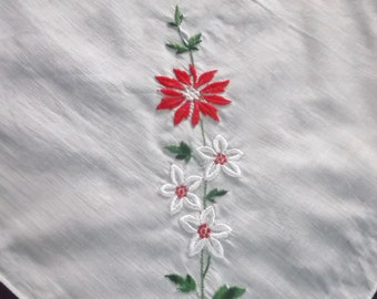 Embroidered Handkerchief, Red, Green on White, Floral, Linen Hanky, Womens Hankies, Wedding Handkerchief, Vintage Handkerchiefs