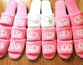 Pink Spa Slipper glitter monogram; Personalized; Open toe; Pink Terry shoe, Bride, Bridesmaid, Gift under 15; New Mom, Baby Shower