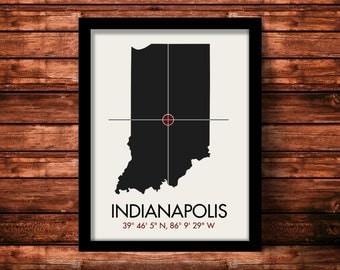 Indianapolis Map Print   Indianapolis Map Art   Indianapolis Print   Indianapolis Gift   Indiana Map   11 x 14 Print