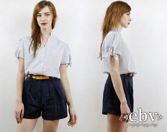 Vintage 70s White Polka Dot Blouse M L Polka Dot Shirt Secretary Blouse White Blouse Summer Blouse