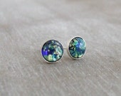 Blue Opal Studs ... small studs, sterling silver, tiny earrings, tiny silver studs, celestial earrings, planet earrings, blue earrings