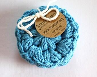 SHOP CLOSING SALE . Round Face Scrubby Set . Set of 3 . Crochet . 100 Percent Cotton . Blue