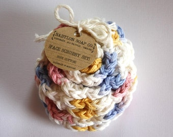 Flower Face Scrubby Set . Set of 3 . Crochet . 100 Percent Cotton . White, Pink, Blue & Yellow