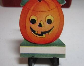 Cute die cut unused 1940's Halloween name tag gift tag jack o'lantern
