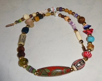 Vintage Colorful Beaded Necklace Beads From Around the World Abalone Mother of Pearl