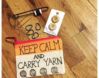 Keep Calm and Carry Yarn, Knitting and Crochet Storage Pouch.
