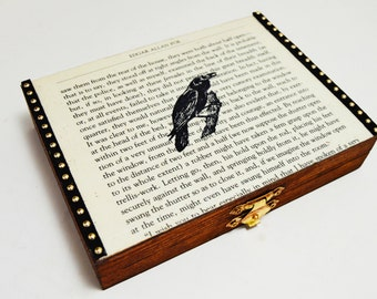 Raven on Vintage Literature Jewelry Box