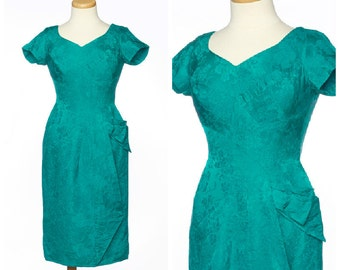 vintage 50s Alix of Miami dress // Chic Green Floral Satin Sarong Cocktail Party Dress Medium
