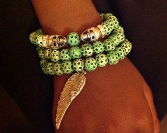 Green Beaded Skull Bracelet