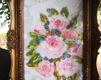 Regency framed Roses original art Ornate Frame Vintage Gold Resin Picture Frame 5 by 7