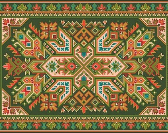 Large Antique Rug Rectangular Shape Motif 2 Counted Cross Stitch Pattern PDF