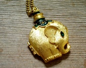 Elephant Locket, Elephant Perfume Pendant, Vintage Gold Plated Rajah's Elephant Perfume Locket Pendant Necklace, Animal Jewelry