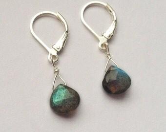 Labradorite Earrings, Sterling Silver, Blue Flash, Gemstone