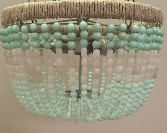 Aqua & White Beaded Flush Mount Light Fixture