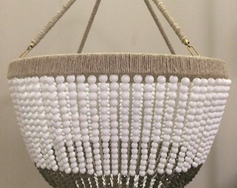 Large White & Grey Beaded Chandelier- Ready to Ship!
