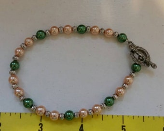 Peach and Green  Bracelet