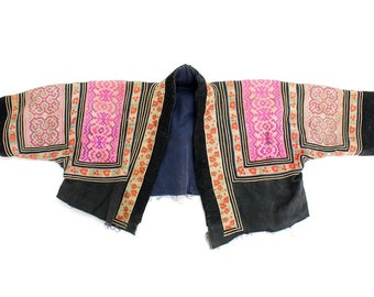 Vintage Hmong Jacket Hand Embroidered Hill Tribe Clothing (TX350.1)